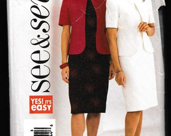 See and Sew Butterick 3818 Yes! It's easy Misses' Misses-Petite Jacket and Dress
