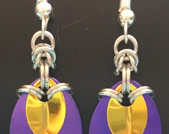 Purple and Yellow drop earrings