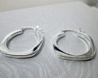 925 Silver Loop Earrings Flat U Earrings Geometric Hinged Hoop Earrings Silver Hoop Earrings Stirrup Earrings Simple Silver Modern Earrings
