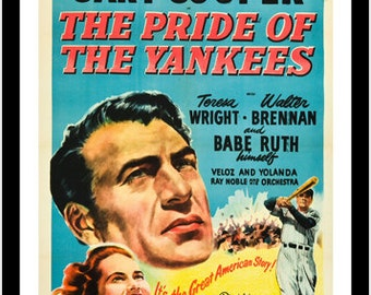 Movie Poster Pride Of The Yankees Babe Ruth Gary Cooper Baseball Tale 24x36