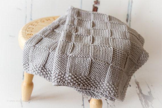 Knitting Patterndiy Instructions Chunky Checks Baby Blanket