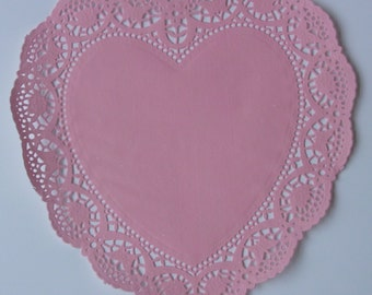 16 Pink Heart shaped paper doilies, 10 inch size, Valentine's Day, Wedding, Party decor