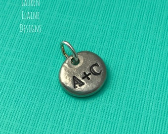 Custom Hand Stamped Circle Initial Charms- In Pewter