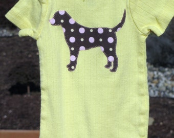 ANY dog breed!  Custom-made baby girl bodysuit.  Hundreds of applique fabrics in stock too!