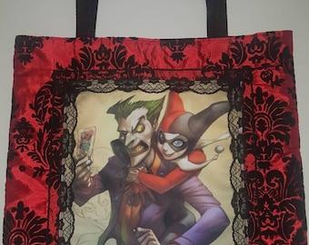 Hugging joker and Harley Quinn Tote Bag