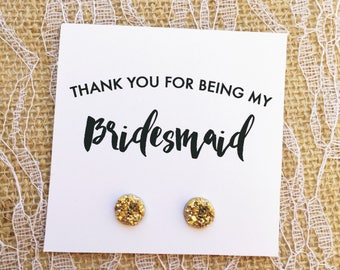 Bridesmaid Gift - Thank You Gift - Bridal Party - Druzy Jewelry