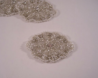Oval White Silver Beaded Applique with Stones--One Piece