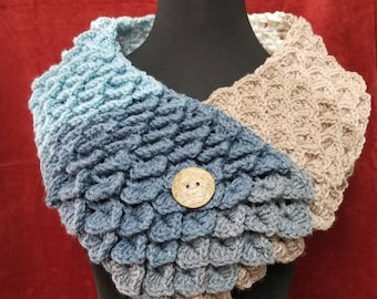 Handmade Crochet Crocodile stitch neck scarf