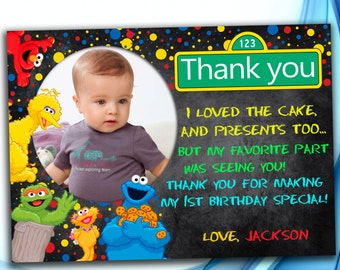 Sesame Street Thank you card. Sesame Street Birthday . Sesame Street Photo Thank you. Sesame Street Party