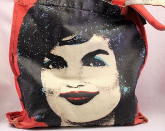 Andy Warhol Jackie Kennedy Tote   Jackie O Bag   Jackie purse  Camelot  Red Tote  Pop Art