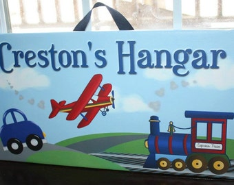 Personalized Planes, Trains, and Automobiles Boys Stretched Canvas Children's Bedroom Wall Art CS0039