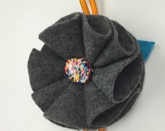 Grey Felt Flower Headband with Sprinkle button