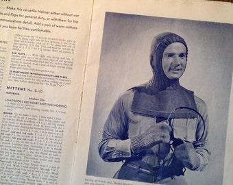 Winter Blizzard Protection KNITTED HELMET.  Chadwick's c1941.