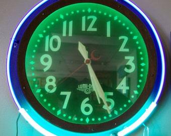 Original 1940s Lumi Dial Neon Clock, Vintage Neon Clock