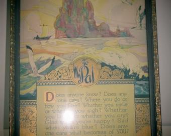 TO MY PAL 1924 J.P. McEvoy Framed Poetry, 1924 Friend Poetry, To My Pal Poem 1924, Best Friend Gift, Vtg J. P. McEvoy Poetry