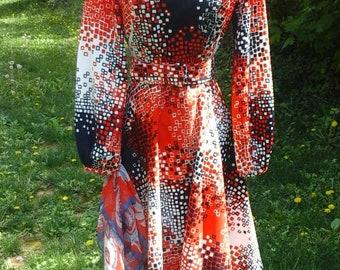 Vintage Toni Todd Mod Dress M Red White Blue