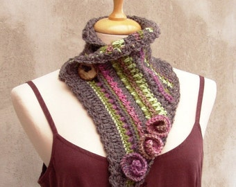 Crochet poncho women neckwarmer with crochet roses gift for women fairy spring scarf