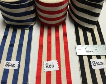 Vintage French Striped Ribbon, Made in France, Sold by the Yard.