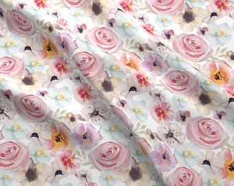 Boho Watercolor Floral Fabric - Boho Floral By Graceandcruzdesigns - Nursery + Wedding Floral Cotton Fabric By The Yard With Spoonflower