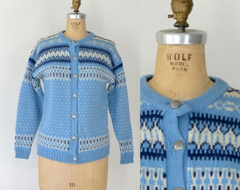 Vintage Nordic Wool Sweater / Light Blue Fair Isle Cardigan