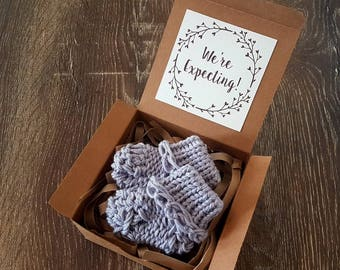 Grey Socks Pregnancy Announcement - Baby Booties Pregnancy Reveal To Grandparents - We're Expecting Announcement - Personalised Pregnancy