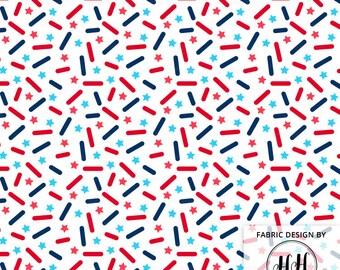 USA Donut Sprinkles Fabric by the Yard / 4th of July Fabric / Doughnut Fabric / Ice Cream Fabric / Star Sprinkle Print in Yard & Fat Quarter