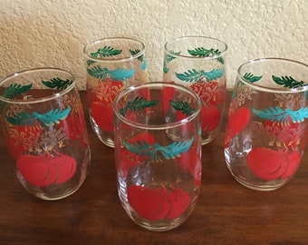 Vintage 1950's  juice glasses tomato juice glasses set of five farmhouse Kitsch