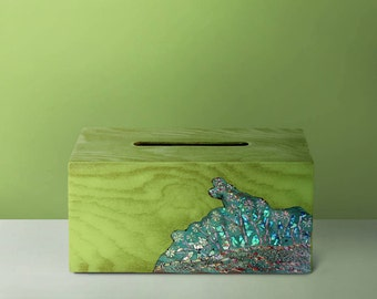 Green Wooden Tissue Box Cover Mother-of-pearl, Interior Decor, Tissue Box, Kleenex Box, Home Decor, Wedding Gift