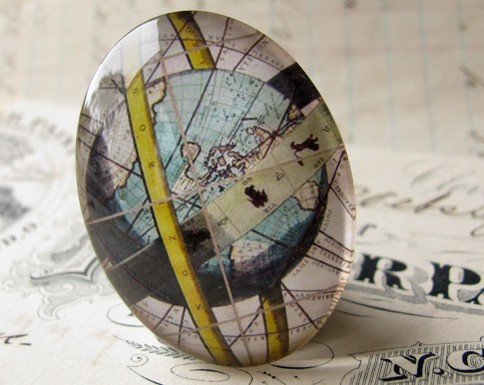 Armillary Sphere Map, globe, earth, ancient astronomy, handmade oval glass cabochon, 40x30mm or 25x18mm, sky, Historical Maps collection