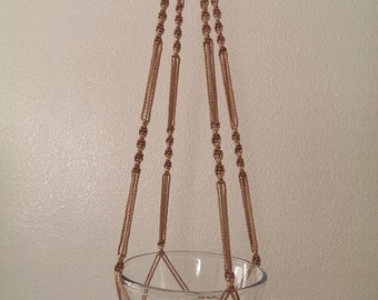 """Hand Crafted Macrame Plant Hanger- Tan 42""""-45"""" (Available in all colors)"""