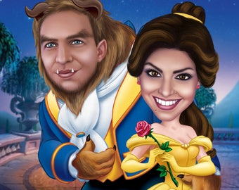 Custom Beauty and the Beast Portrait / Beauty and Beast Birthday / Beauty and Beast Party Ideas / Beauty and Beast Invite Beauty and Prince