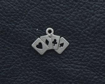 Cards charm,  ace, spade, diamond, heart, charm, 25mm, sold 2 each