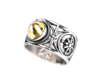 Filigree Cabochon Ring Silver