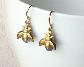 Dainty Bee Bumblebee Honeybee Amethyst Czech Glass Drop Earrings Gold Brass Spring Jewelry Easter Earrings