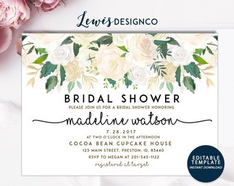 Bridal Shower Invitation | Watercolor Floral Wedding Card | White Winter Shower | Editable Template Printable Card | Instant Download DIY