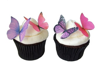 Cake Topper - EDIBLE BUTTERFLIES in 24 Pink and Purple Cupcake Decorations for Birthday Cupcakes and Wedding Cakes