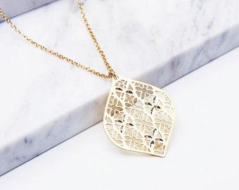 Filigree crystals gold vermeil necklace