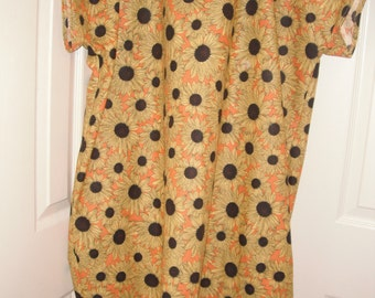 Bright sunflowers print cotton hospital gown