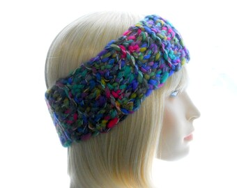 Rainbow Headband, Women's Crochet Headband,  Wool - Blend Earwarmer, Medium Size