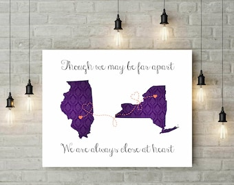 Damask Long Distance Two States Print | Best Friends | Gift For Bestie | Friendship Quote Print | States Map Wall Art - 54077