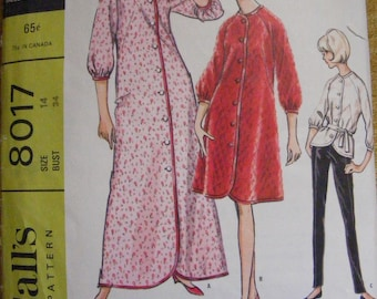 Robe / House Coat, Jacket, Pants, 1960's Mid Century Vintage Misses' Sewing Pattern McCall's 8017 Size 14 Bust 34""