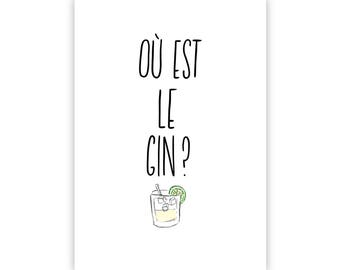 Ou est le Gin? A5 print