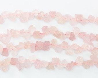 Raw Rose Quartz Beads -- chip nugget loose bead