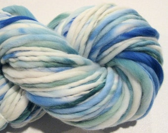 Super Bulky Handspun Yarn There and Back Again 108 yards blue white green yarn hand dyed merino wool waldorf doll hair knitting supplies