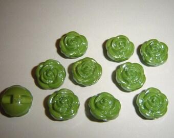 GLASS IRIDESCENT buttons 5 / / 13 mm / / Green
