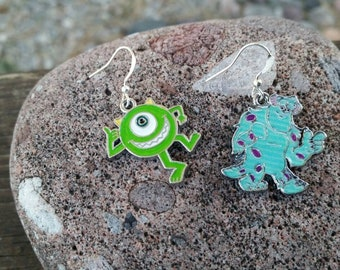 Monster's Inc Mix Matched Earrings with Mike and Sullivan - enamel charm earrings - movie cartoon jewelry