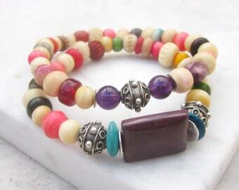 Colorful bone bracelets, beaded bracelets, stacking bracelets, ethnic bracelets, stretch bracelets, sterling silver amethyst mookaite jasper