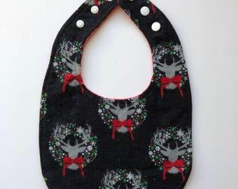 Deer Wreath and Red Snowflake Baby Bib Reversible