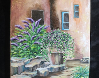 Adobe house and flowers (painting)