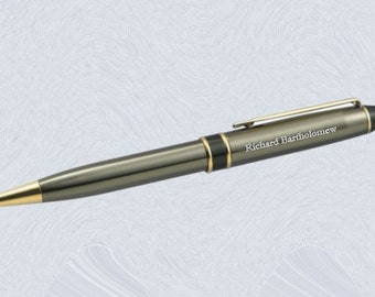 Personalized Engraved Ballpoint Pen custom engraved Gunmetal 3333B for groomsmen, father, graduation, executive gifts